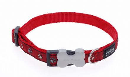 Red Dingo Dog collar Pawprints Red
